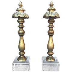 Pair of Italian Giltwood Finials on Lucite Bases
