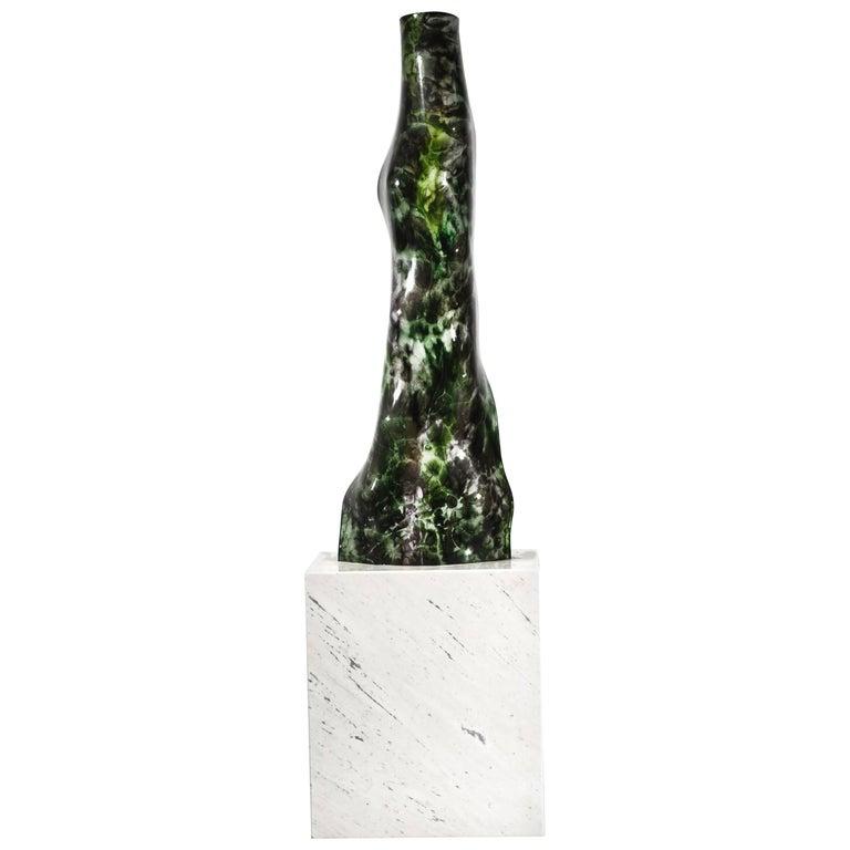 Magikarpet Multicolor Green Hues Organic Glass Lamp w/White Marble Lighting Base For Sale