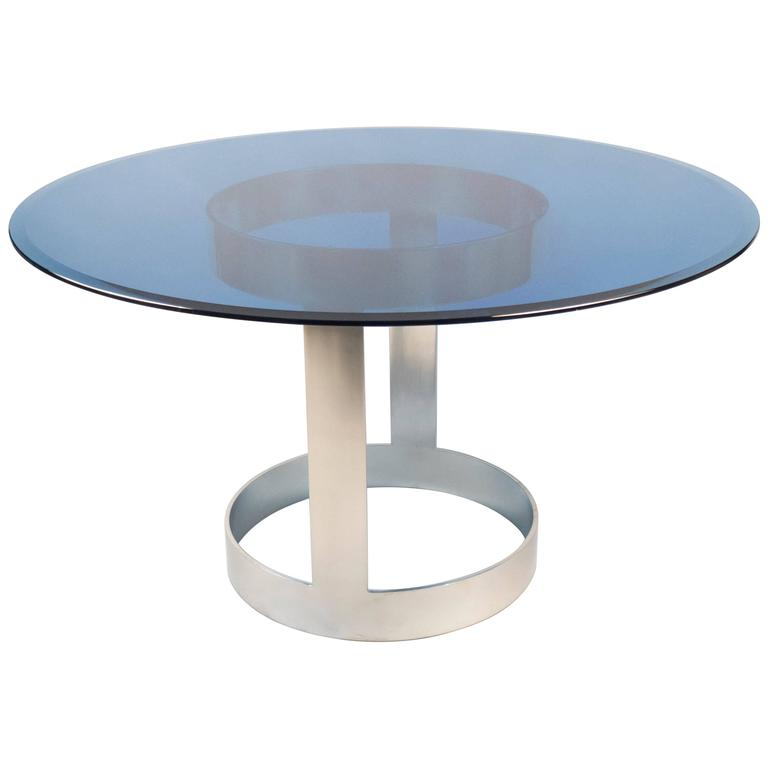 Center table with blue glass top over chrome base france for Cuir center table basse