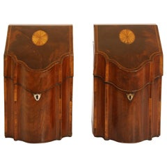 Pair of George III Mahogany Serpentine Inlaid Knife Boxes, circa 1780