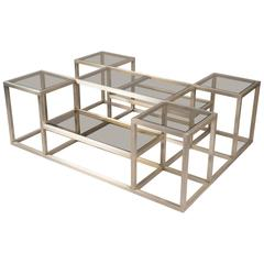 Steel Multi-Level Structured Coffee Table, France, 1970s