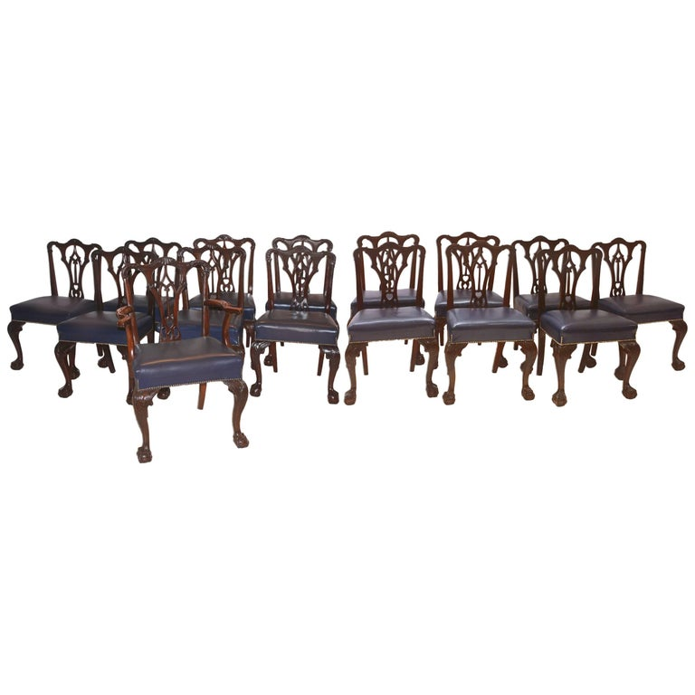Irish George II Style Side Chairs / Set of Fourteen For Sale