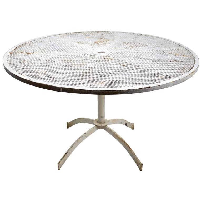 Round Garden Dining Table Part - 20: Round Garden Patio Dining Table With Mesh Top Attributed To Woodard 1