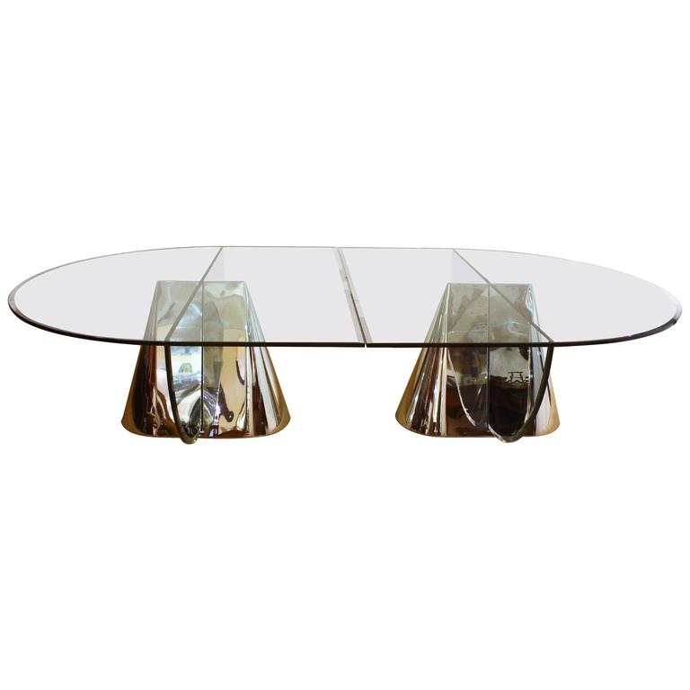 Two Brueton Pinnacle Table Bases Designed by Jay Wade Beam with Custom Glass Dem 1