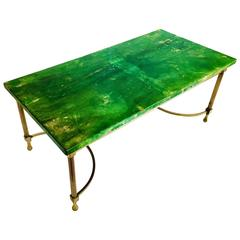 Exquisite Italian Goatskin Leather Wrapped Coffee Table by Aldo Tura