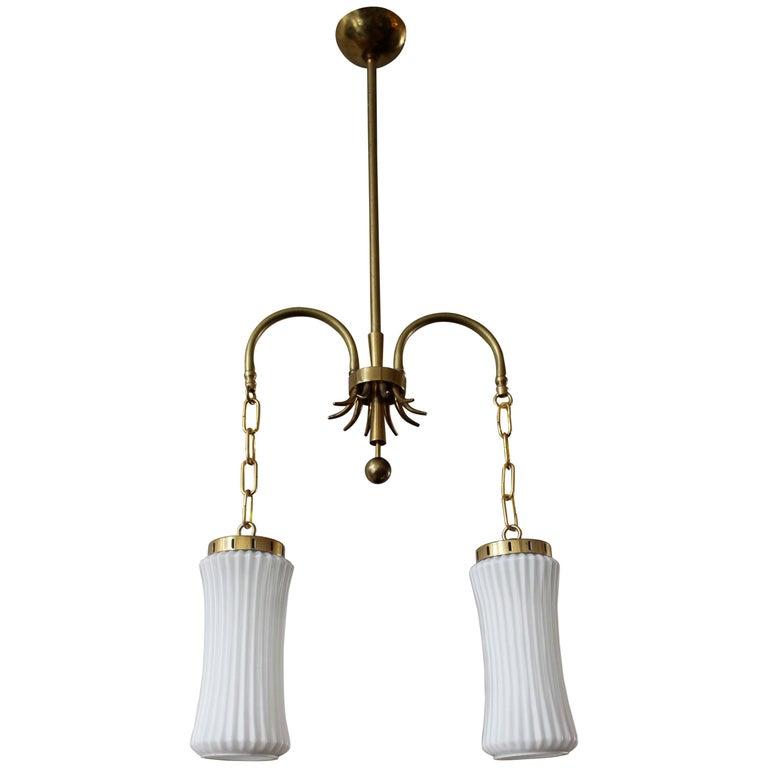 Italian Art Deco Brass Chandelier