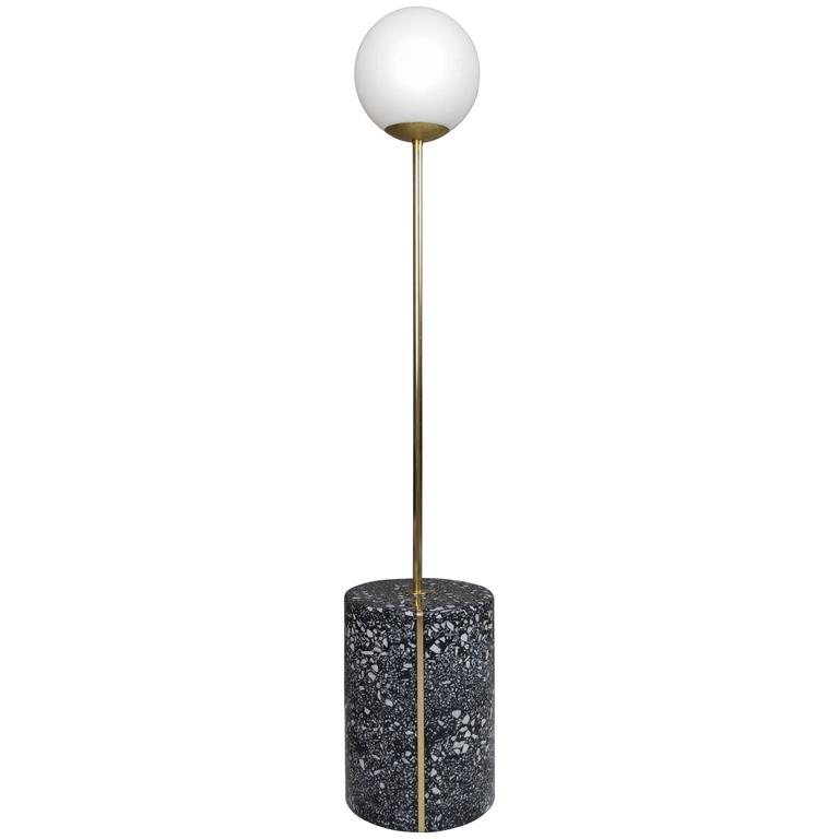 Moon Pole Lamp / Cement And Marble Terrazzo With Brass Inlays For Sale