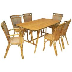 French Bamboo Table and Chairs Set (Louis Sognot)