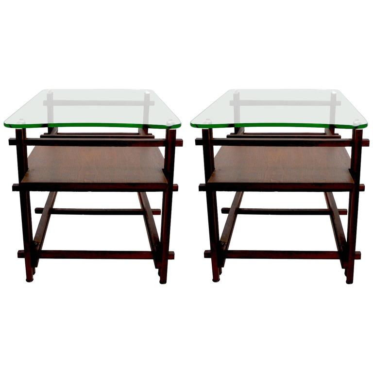 Pair of Architectural Glass and Wood Tables After Henning Norgaard for Komfort For Sale