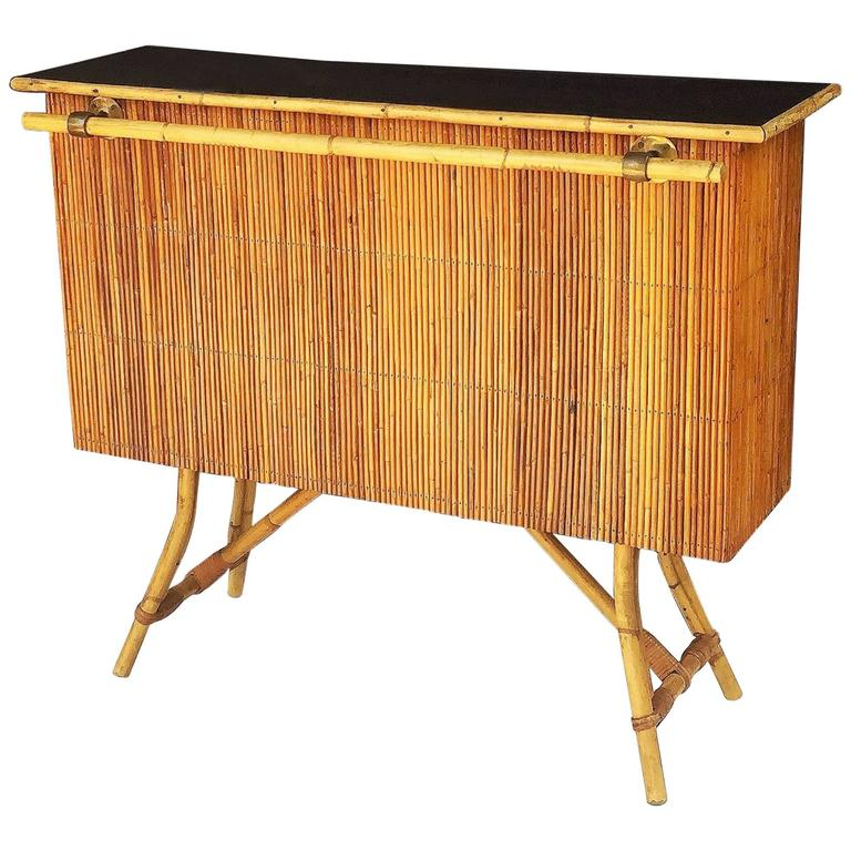 French Bamboo Bar for Serving with Black Lacquered Top 1