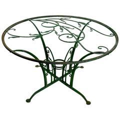 Rare Art Deco Salterini Foliate Decorated Zinc Garden Patio Dining Table