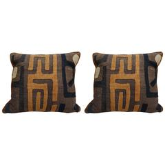 Pair of African Kuba Cloth Pillows with Velvet Backs