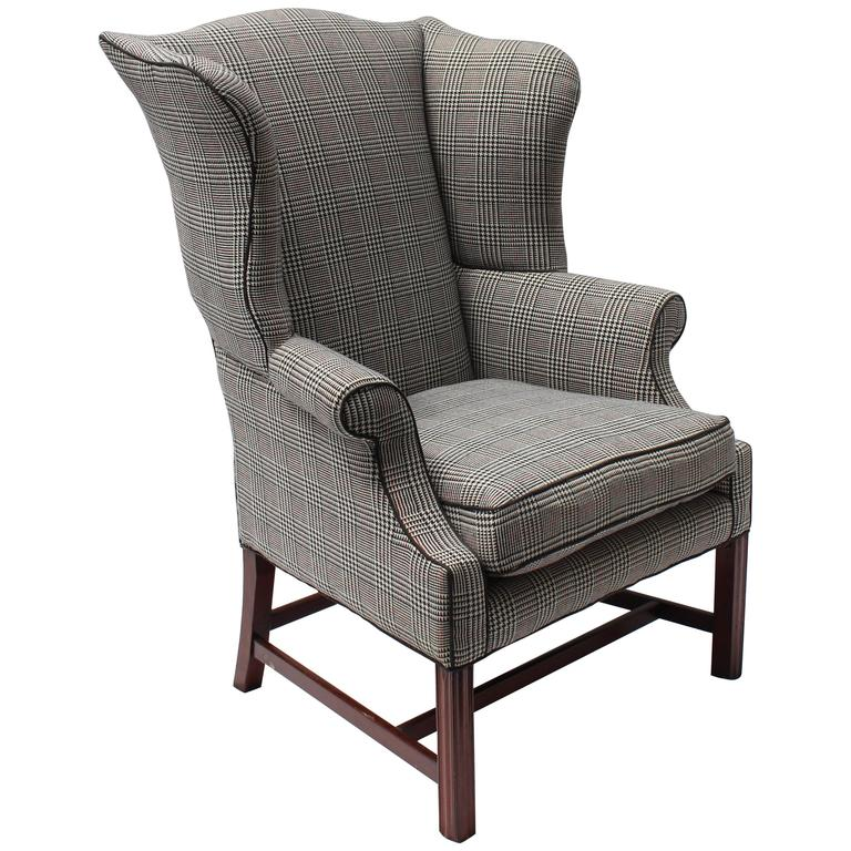 Large Chippendale Wingback Chair For Sale