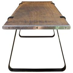 Architects Minimalist Teak Plank Coffee Table Bench Mid-Century Retro Rustic