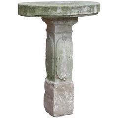 19th Century Garden Table in Limestone with Engraved Decor