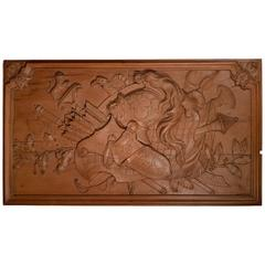 Carved Oakwood Panel Decorated with Trophies of Arms, 19th Century