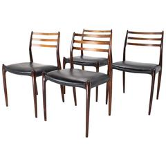 Scandinavian modern set of four dining chairs in rosewood Niels Møller, 1950s