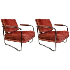 Pair of Machine Age Art Deco Tubular Chrome Lounge Chairs