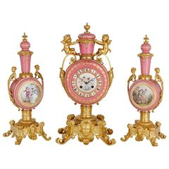 Sèvres Style Gold Ormolu and Pink Porcelain Antique French Three-Piece Clock Set