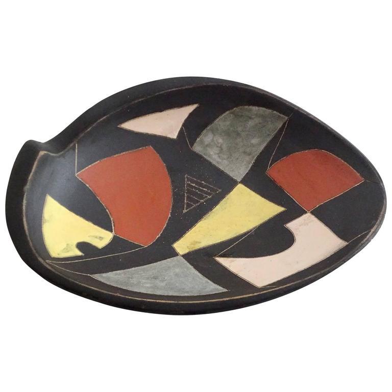 Mid-Century Modernist Abstract Art Painting Ceramic Bowl, Capron Orlando Era