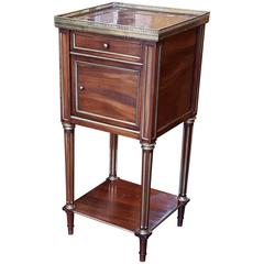Late 19th Century French Brass Inlaid Mahogany Bedside Cabinet