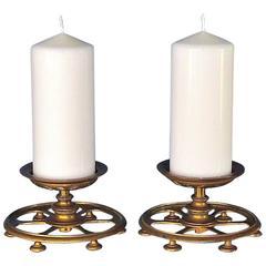 Pair Brass Art Deco Nouveau Candleholder Lights by Lobmeyr, Austria 1890- 1920