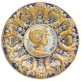 Antique Continental Maiolica Moulded Lustre Figural Wall Plaque / Dish