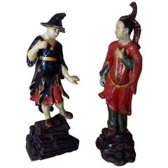 Venetian Lacquered Wood Rococo Period Pair of Chinamen, Italy, circa 1750
