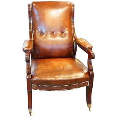 Regency Mahogany and Brass Library Chair