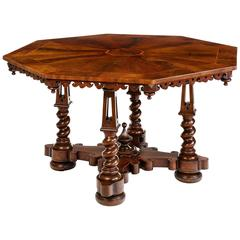 Early Victorian Walnut Centre Table Attributed to Willement