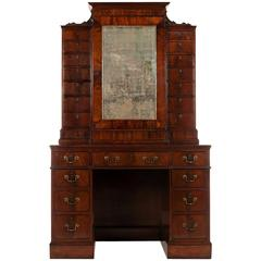 George III Mahogany Kneehole Side Cabinet Attributed to Wright & Elwick