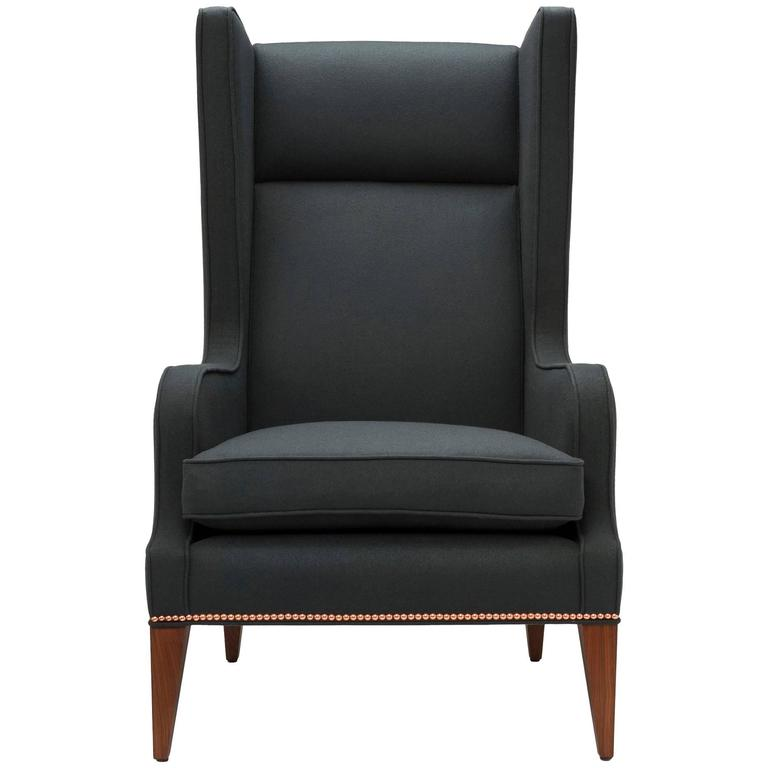 Contemporary Alae Wing Chair in Charcoal Melton Wool with Walnut Legs
