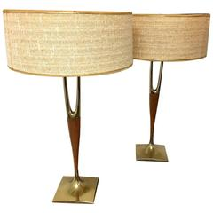 Pair of Walnut and Brass Lamps by Laurel Lamp Company with Original Shades