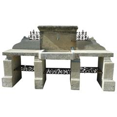 Aged Stone Summer Kitchen with Monolith Sink, Working Plans, Legs and Pediment