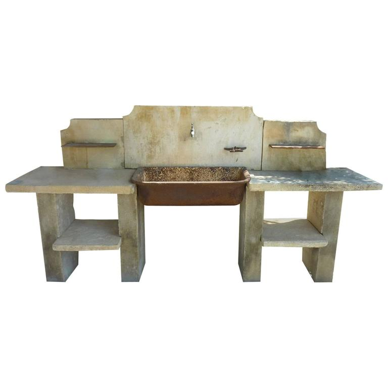 Antique wrought iron sink on legs with stone working plans for Antique stone sinks for sale