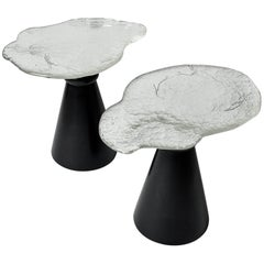 Silver Glass and Black Wood One of a Kind Pair of Side Tables