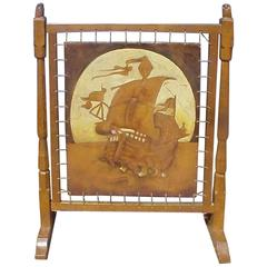 Carved and Adzed Oak Fire Screen Attributed to Robert Thompson Mouseman