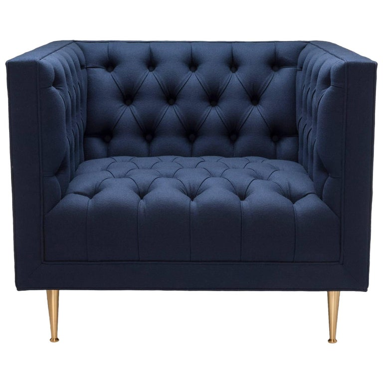 Contemporary Tux Chair Special Edition in Navy Melton Wool with Legs in Brass For Sale