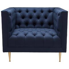 Contemporary Tux Chair Special Edition in Navy Melton Wool with Legs in Brass