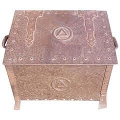 Arts and Crafts Hand Hammered Copper Log Box with Hand Riveted Construction