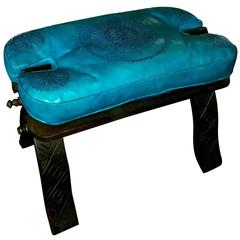 Handmade Moroccan Camel Saddle, Turquoise Leather Cushion