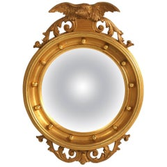 Regency Eagle Convex Mirror with a Gold Leaf Finish