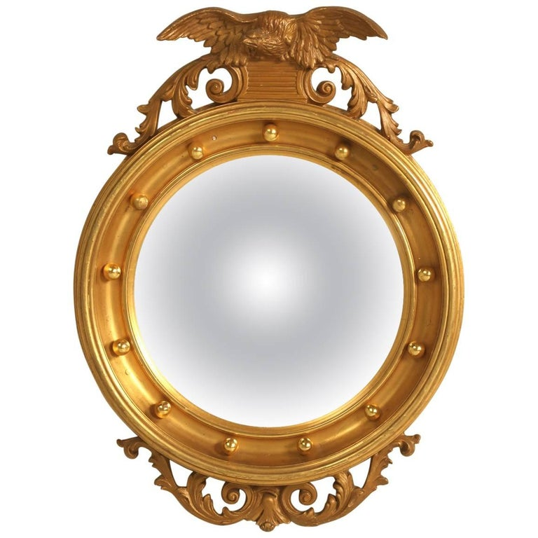 Regency Eagle Convex Mirror with a Gold Leaf Finish 1