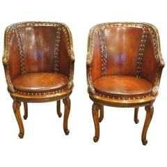 Pair of Edwardian Leather and Walnut Tub Chairs