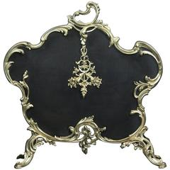 Fine Polished Brass Fireplace Fire Screen