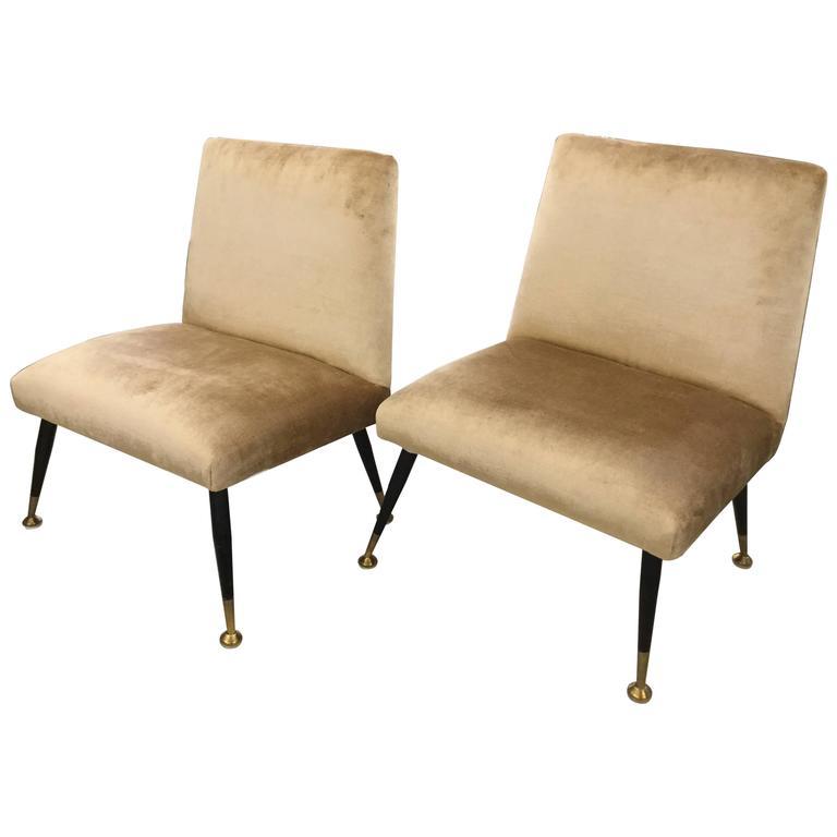 Pair of Italian Slipper Chairs Carlo de Carli, 1950