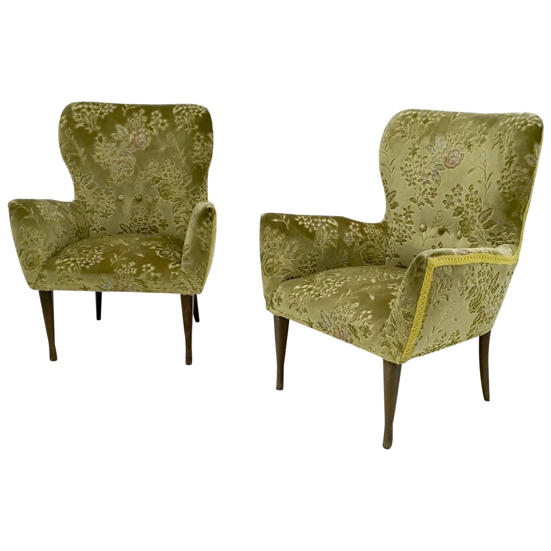 Pair of Vintage Velvet Armchairs, Italy, 1950s