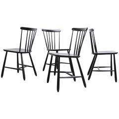 Set of Four Yngve Ekström Spindle Back Nesto Chairs for Pastoe