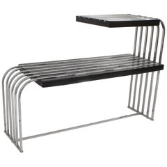 American Art Moderne Black Lacquered and Chrome Two-Tier End Table