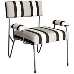 Alex Outdoor Upholstered Stainless Steel Powder Coated Lounge Side Club Chair